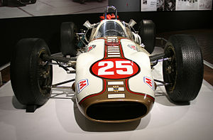 1964 Indianapolis 500 - Image: American Red Ball Halibrand Ford front view Honda Collection Hall