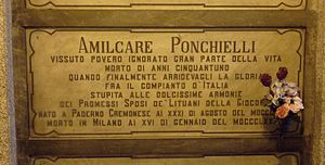 Amilcare Ponchielli - Ponchielli's grave at the Monumental Cemetery of Milan, Italy