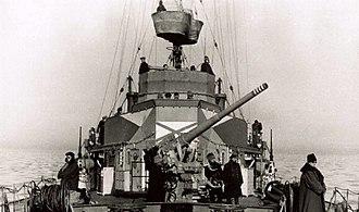 10.5 cm SK C/32 naval gun - The SK C/32 bow gun of Amiral Murgescu