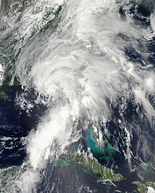A mid-grade tropical storm prior to moving ashore the western coast of Florida.