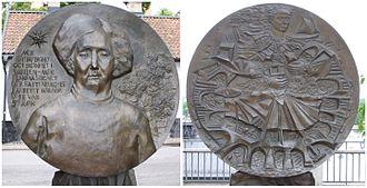 Anna Lindhagen - Sculpture of Anna Lindhagen by Kerstin Kjellberg-Jacobsson at Fjällgatan in Stockholm.
