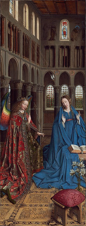 The Werl Triptych - Annunciation, Jan van Eyck, 1434–1436. National Gallery of Art, Washington. Note the monumental size of the figures, who are out of proportion to their surroundings.