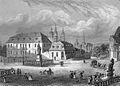 Ansicht des Bonifatiusplatzes mit Bonifatiusdenkmal und Hauptwache in Fulda 1850.jpg