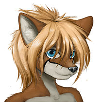 An anthropomorphic vixen female fox a typical furry character