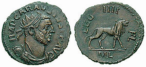 Legio IV Flavia Felix - Antoninianus minted under Carausius. On the reverse, the lion, symbol of the legion, and the legend LEG IIII FL.