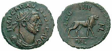Carausius, rebel emperor of Roman Britain. Most of the evidence for Carausius's reign comes from his coinage, which was of generally fine quality. Antoninianus Carausius leg4-RIC 0069v.jpg