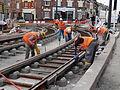 Anzin & Valenciennes - Travaux de raccordement des lignes A & B du tramway de Valenciennes à la Croix d'Anzin le 20 août 2013 (02).JPG
