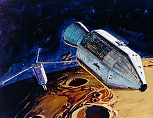Illustration of satellite being deployed from a space vehicle