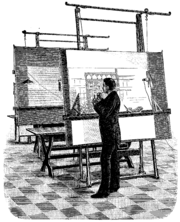 An architect at his drawing board, 1893.