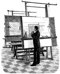 Un Arquitecto (dibujo de 1893) haciendo un diseño