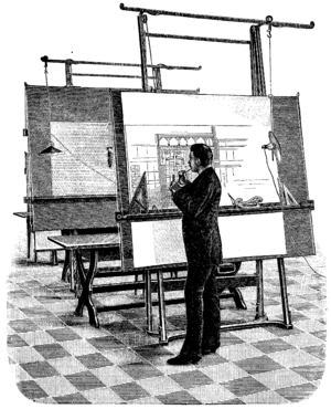 A 19th century architect at the drawing board