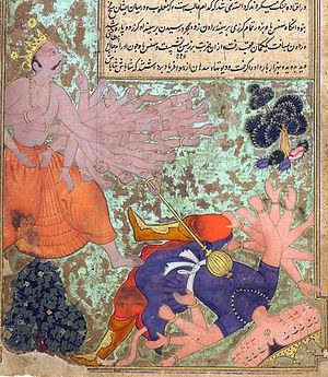 Heheya Kingdom - Arjuna Kartavirya, humbling Ravana, a painting by Fazl, 1597-1605