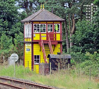 Armathwaite railway station - Armathwaite signal box built by the Midland Railway in 1899 and restored in 1992; also traditional telegraph post