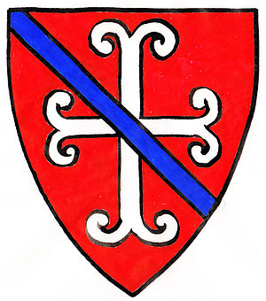 Denys brass, Olveston - Arms of Sir Guy Ferre (d.1323), steward of Queen Eleanor of Castile: Gules, a fer-de-moline argent over all a bendlet azure. As seen sculpted on gatehouse of Butley Priory