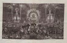 Kupferstich des Feuerwerks zur 900-Jahr-Feier der Überführung der Reliquien des Hl. Liborius nach Paderborn 1736 (Quelle: Wikimedia)