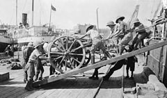Arrival of the first British guns. Baku. 1918.jpg