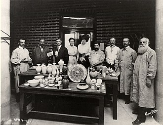 Edward Gardner Lewis - Edward Gardner Lewis (third from left) and others at the Art Academy of People's University in University City, Missouri, in 1910, celebrating the first kiln there.