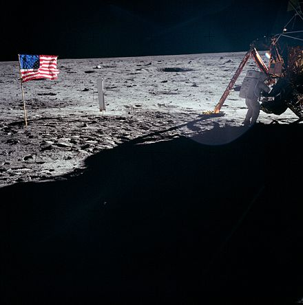 Neil Armstrong working at the Lunar Module Eagle during Apollo 11 (1969) As11-40-5886, uncropped.jpg