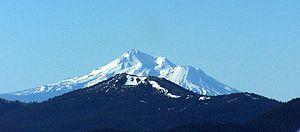 Mount Ashland - An aerial image of Mount Ashland with Mount Shasta behind it