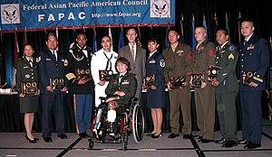Asian American service members at a Defense De...
