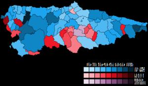 Asturias (Congress of Deputies constituency) - Image: Asturias Municipal Map Congress 2016