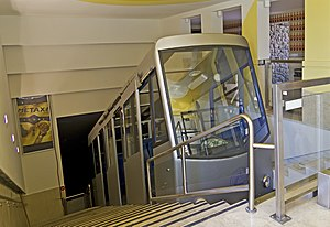Lycabettus Funicular - Railway car in the upper station