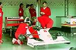 Ayrton Senna`s Mclaren MP4-8 in the pit garage at the 1993 British Grand Prix (33530369272).jpg