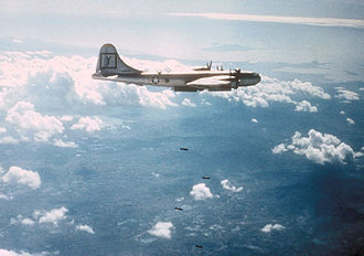 307th Operations Group - A 307th Bomb Group B-29 bombing a target in Korea, c. 1951.
