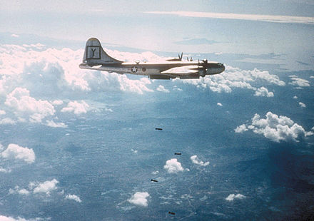 A 307th Bomb Group B-29 bombing a target in Korea, c. 1951. B-29 307th BG bombing target in Korea c1951.jpg