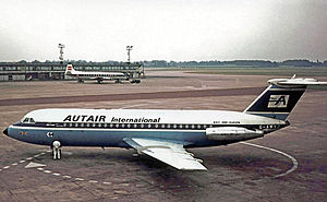 Court Line - Autair International BAC One-Eleven 416EK G-AWXJ at Manchester in July 1969.