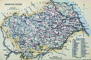 Berwickshire - Berwickshire civil parish map from The Imperial gazetteer of Scotland, volume I by Rev John Marius Wilson. Boundaries outlined in red.