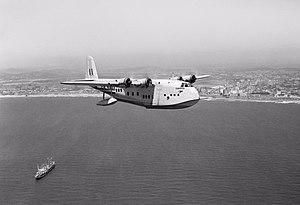 "BOAC Short S.33 'C' Class Empire Flying Boat ""Cleopatra"" circles Durban.jpg"