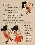 Den engelska Baa, Baa, Black Sheep illustrerad av William Wallace Denslow 1902.