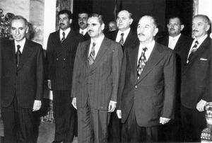1966 Syrian coup d'état - Members of the National Command of the Iraqi-dominated Arab Socialist Ba'th Party: from left to right Secretary General Michel Aflaq, Vice President of Iraq Saddam Hussein (second line), Assistant Secretary General Shibli al-Aysami (mid left) and President of Iraq Bakr (mid right) among others