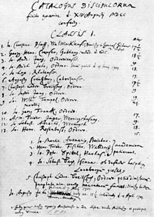 Schulmatrikel des Lyzeums Ohrdruf. J. S. Bach ist der vierte Schüler in der zweiten Liste (Quelle: Wikimedia)