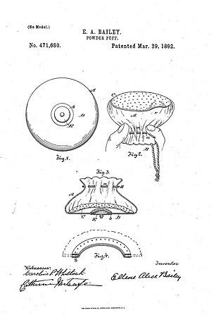 Ellene Alice Bailey - E.A. Bailey powder puff design, U.S. patent no. 471,680, 1892.