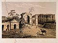 Baillie Battery and Hospital; with soldiers parading the gro Wellcome V0015316.jpg