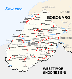 Subdistrict, suco and city of Balibo