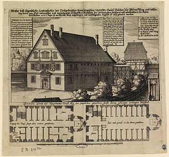 Witch-hunt - The Malefizhaus of Bamberg, Germany, where suspected witches were held and interrogated. 1627 engraving.
