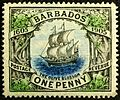 Barbados Ship 1905 issue.JPG