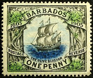 "Gilbert Thomas Carter - The 1905 ""Olive Blossom"" stamp of Barbados, designed by Gilbert's second wife, Gertrude."