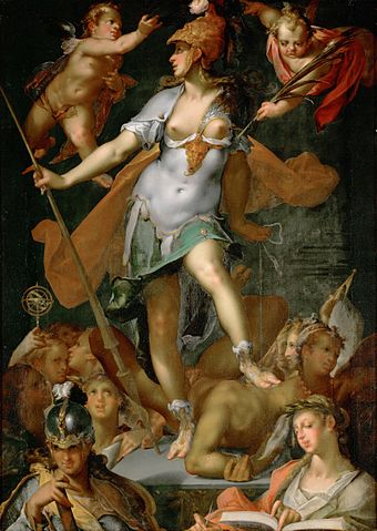 "Bartholomeus Spranger, Minerva triumphs over Ignorance, 1591, ""an astonishing makeover ... [Minerva] never looks as glamourous anywhere else"". Bartholomaus Spranger 017.jpg"