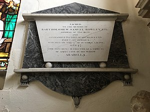 Bartholomew Rowley - Memorial to Bartholomew Rowley in St Mary's church, Stoke-by-Nayland, Suffolk