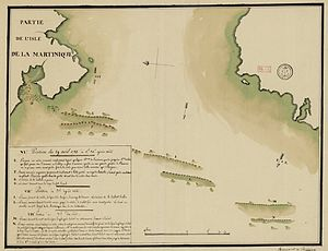 Spanish ship Fenix (1749) - French map showing the position of the two fleets off Martinique, at 12:30, 15:00, and 19:00