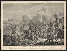 Sepia print of «Batalha do Vimeiro» shows a battle scene with a British flag in the center.