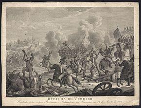"Sepia print of ""Batalha do Vimeiro"" shows a battle scene with a British flag in the center."