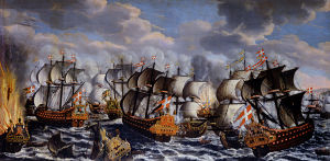 1677 in Denmark - Image: Battle in køge bay claus moinichen 1686