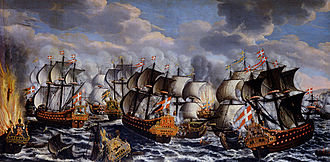 Battle of Køge Bay (1677) - Image: Battle in køge bay claus moinichen 1686