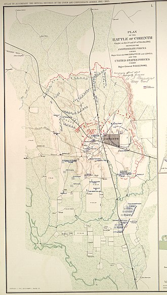 Siege of Corinth - Battle map of Corinth, excerpt of map prepared and later published by the United States War Department, 1895