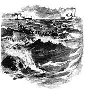 sketch of Marines in rowboast in heavy seas cutting undrsea cables, while two ships in the background return fire